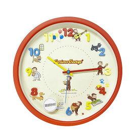 おさるのジョージ 壁掛け時計 (レッド) 15261 ジョージ 時計 時計 掛け時計 かわいい カラフル マルチカラー 女の子 男の子 キャラクター 雑貨 グッズ 子供部屋 インテリア プレゼント ウォールクロック 掛時計 ニョッキ ハンドリー