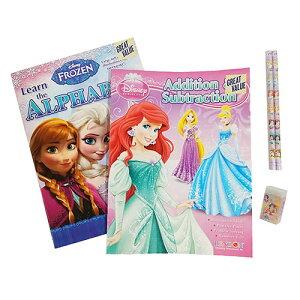 ディズニープリンセス アナと雪の女王 ワークブック セット yts0164 アナ雪 ディズニー FROZEN アルファベット 英語 さんすう 計算 数 かず 数字 すうじ ドリル 鉛筆 えんぴつ 消しゴム けしごむ