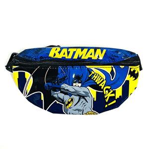 バットマン キッズ用 ウエストポーチ ( 背景ブルー ) 15281 ポシェット ボディバッグ ウエストバッグ 男の子 BOY アメコミ キャラクター DCコミック ヒーロー ダークヒーロー かっこいい 小さい
