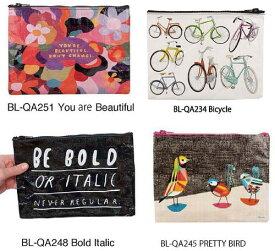 アメリカBlueQ社のリサイクルバッグシリーズ 小物の収納に「ジッパーポーチ Bold Italic」BL-QA248| 輸入 おしゃれ かわいい プレゼント pud256