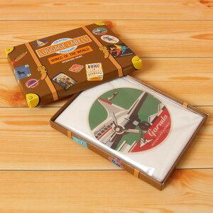【レトロなデザイン♪】LUGGAGE LABELS トラベルステッカー(WING OF THE WORLD) LE11824 | 輸入雑貨 おしゃれ かわいい プレゼント ポップ pud606