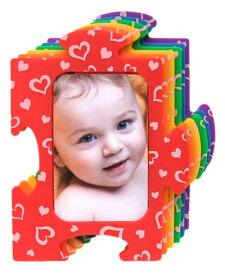 パズルフォトフレーム (レインボー ハート) 6068 写真立て フォトフレーム 6色セット 写真 カラフル インテリア ベビー 赤ちゃん 子供 ペット 家族 恋人 友達 ギフト プレゼント 誕生日 出産祝い 新築祝い 送料無料 メール便配送