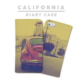 ★送料無料★手帳型『カリフォルニア』ビートル/アメリカ/CALIFORNIA/ロサンゼルス/ビーチ/スマホ/アイフォン/ケース/カバー/手帳/ブック/ダイアリー/iPhone7/iPhone7 Plus/iPhone6/iPhone6s/iPhone6 Plus/iPhone6s Plus/iPhone5s/iPhoneSE