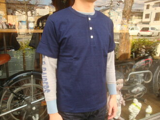 "WAREHOUSE (wear house) ""Lot .4055 Indigo Henley Neck Tee/ indigo henley neck T-shirt"""