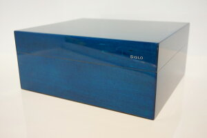 【SIGLO HUMIDOR COBALTBLUE シグロ社製 ヒュミドール コバルトブルー】 葉巻 シガー タバコ 収納 保管 ケース BOX シンプル デジタル温度計 加湿器 ピアノ表面仕上げ 光沢 高級感 ボリビア