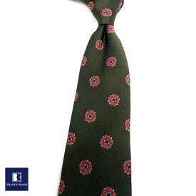 フランコバッシ ネクタイ FRANCO BASSI tie メンズ カーキ ピンク 小紋柄 シルク100% イタリア Itary プレゼント ギフト ラッピング ブランド 送料無料 正規品 直輸入 数量限定 父の日