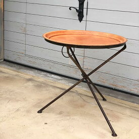 送料無料 北欧雑貨 北欧 レザー 革 最高品質 手作り 贅沢 エレガント ラウンドフォールディングテーブル Mサイズ ナチュラルブラウン