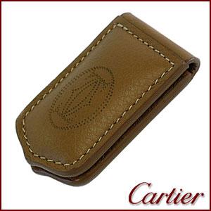 【並行輸入品】 カルティエ Cartier マネークリップ メンズ レザー 札ばさみ T1220702 ブラウン