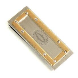 【並行輸入品】 カルティエ マネークリップ サントス T1220332 シルバー+ゴールド 札ばさみ Cartier