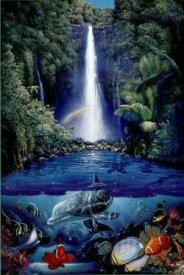 クリスチャン ラッセン(Christian Riese Lassen) 「kahana falls」 ポスター(101103)