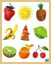 エリック・カール (Eric Carle) はらぺこあおむし ミニポスターフレームセット(ナチュラル) Caterpillar With Fruits(1303...