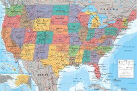アメリカ合衆国地図 ポスター USA Map(130829)