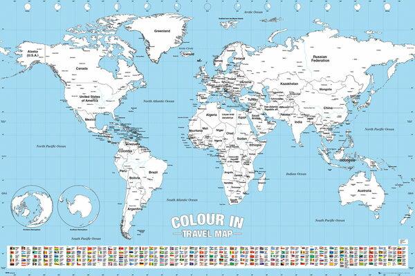 世界地図 白地図 色塗り ポスター (英語表記) World Map Colour In【160701】