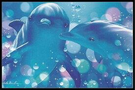 クリスチャン ラッセン(Christian Riese Lassen) 「Kissing Dolphins」 ポスター フレームセット(170405)