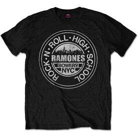 【送料¥250〜】 【ロンドン直輸入オフィシャルロックTシャツ】ラモーンズ Tシャツ RAMONES MEN'S TEE: ROCK 'N ROLL HIGH SCHOOL, BOWERY, NYC Lサイズ!(180523)