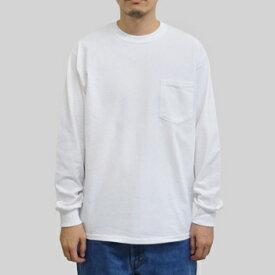 ギルダン ウルトラコットン 長袖ポケット T シャツ GILDAN / 6oz(6オンス)ロンT ポケットT USAモデル・ホワイト t2401wh