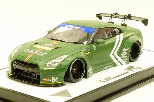 ミニカー 1/18 アイドロン EIDOLON(EML002G) リバティウォーク LB★WORKS R35 GT-R GT wing Ver. LB★パフォーマンス20インチホイール装備 マットダークグリーン 限定60台