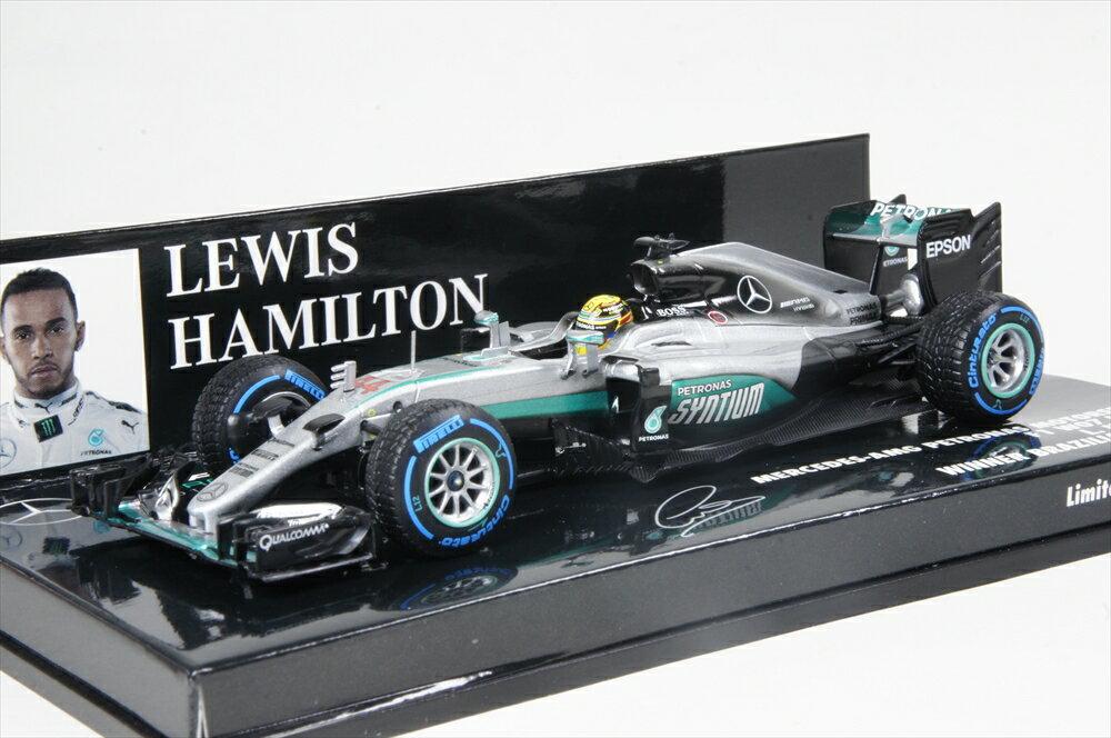 ミニチャンプス 1/43 メルセデス AMG ペトロナス F1 チーム W07 F1 ブラジルGP 2016 L.ハイミルトン レインタイヤ/ヘルメット イン ゴールド 完成品ミニカー 410160644