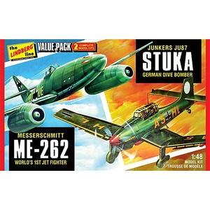 リンドバーグ 1/48 WW.II ドイツ軍 ユンカース JU87 スツーカ & メッサーシュミット ME262 バリューセット スケールプラモデル HL508