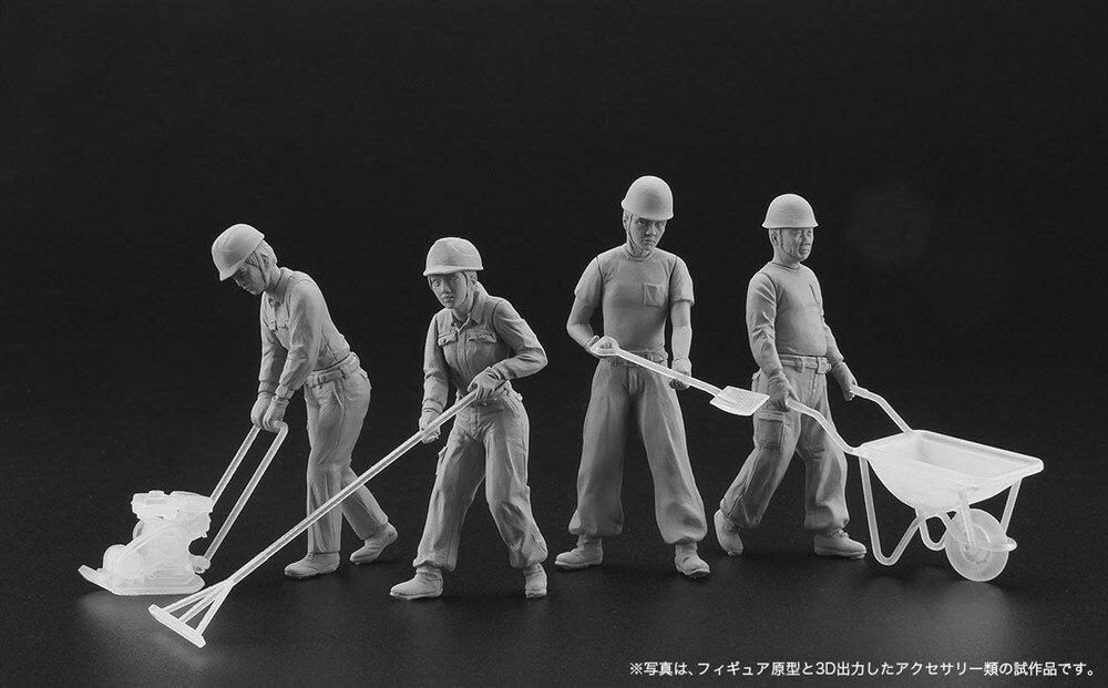 【予約】 ハセガワ 1/35 建設作業員セット A(舗装工事4体セット&アクセサリー) スケールプラモデル WM03