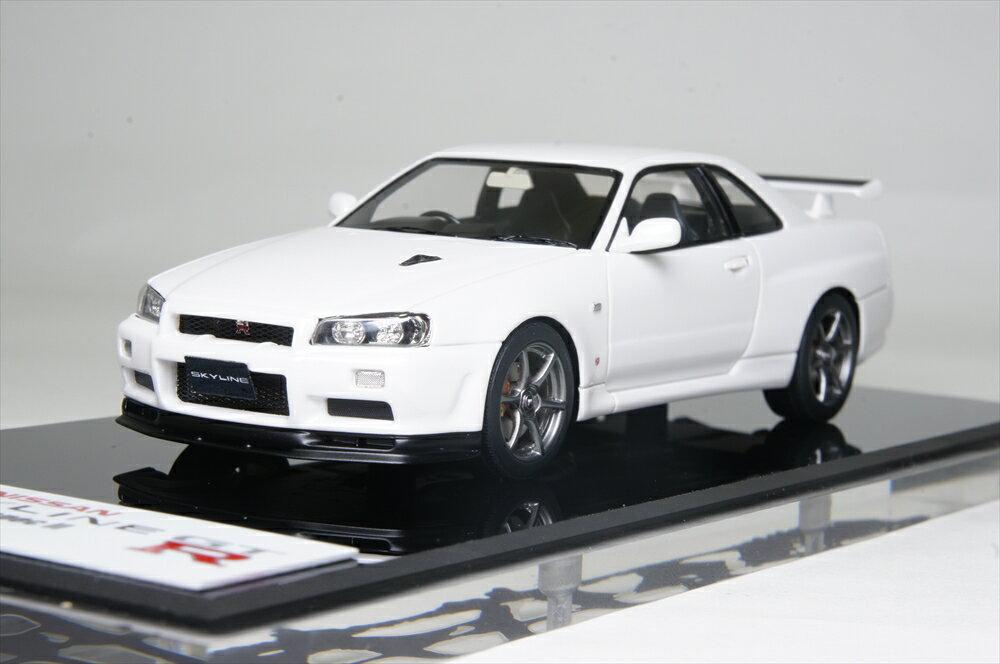 アイドロン 1/43 ニッサン スカイライン GT-R (BNR34) V-spec II 2000 ホワイトパール 完成品ミニカー EM371B