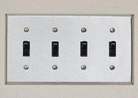 照明フェア 9/30まで送料無料 ステンレスヘアライン4口スイッチプレート