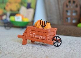 【マルシェパンプキンオレンジカート】ハロウィン雑貨 ハロウィン飾り 置物 飾り インテリア 飾り付け ハロウィングッズ グッズ かわいい ミニチュア パンプキン かぼちゃ カート マルシェ