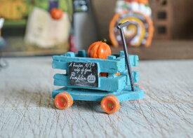 【ウッドファームパンプキンカートBL】ハロウィン雑貨 ハロウィン飾り 置物 飾り インテリア 飾り付け ハロウィングッズ グッズ かわいい ミニチュア パンプキン かぼちゃ カート