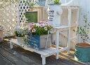 SALE☆10%OFF!【2wayフラワースタンド3段WH】送料無料 木製 ベンチ 花台 庭 ガーデン家具 ガーデンベンチ 棚 杉 ジャ…