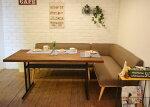 LDセットPRパイン古材140BRパイン古材のテーブルとL型ファブリックソファのセット