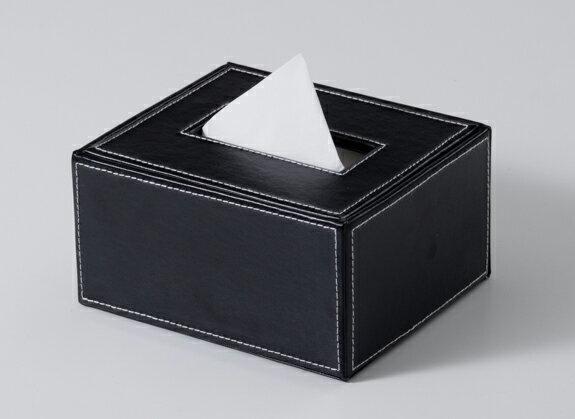 ハーフティッシュケース レザー 黒色W120×D140×H70mm