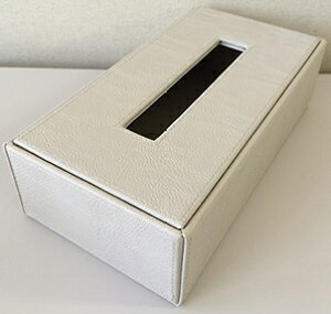 ティッシュケース レザー調 ベージュ W265×D140×H75mm エアファクトリー