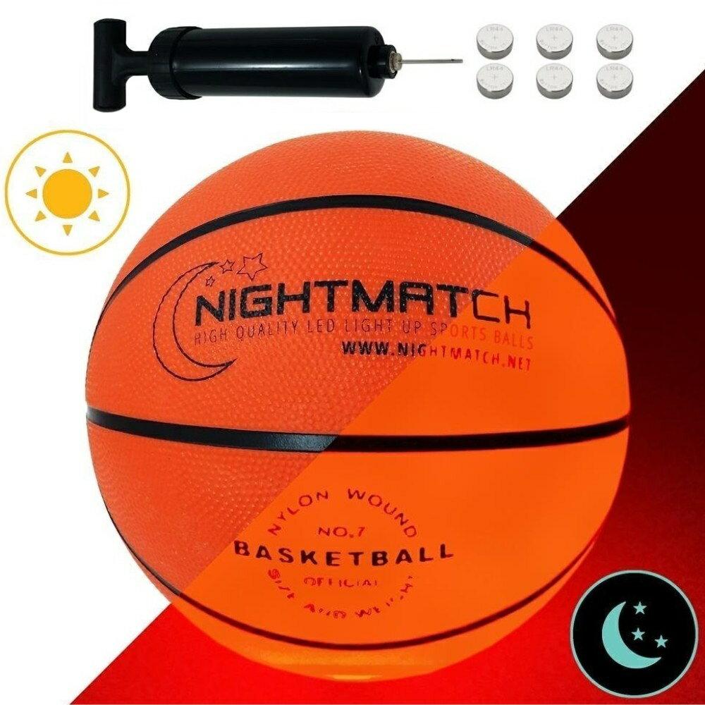 光る バスケットボール 7号球 NIGHTMATCH ナイトマッチ LED ライトアップ バスケットボール【空気入れポンプ、予備電池付】