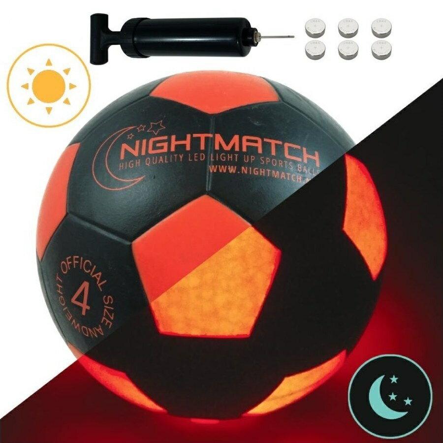 光るサッカーボール 4号球 全3色 NIGHTMATCH ナイトマッチ LED ライトアップ サッカーボール【空気入れポンプ、予備電池付】
