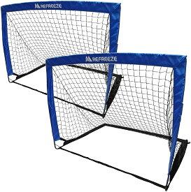 REFREEZE(リフリーズ) 選べる3カラー 折りたたみ ミニサッカーゴール 2個セット ブルー 収納バッグ付き 室内 屋外兼用 ポータブル ポップアップ サッカー フットサル ゲーム 対戦 練習 トレーニング