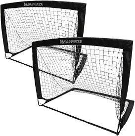 REFREEZE(リフリーズ) 選べる3カラー 折りたたみ ミニサッカーゴール 2個セット ブラック 収納バッグ付き ポータブル ポップアップ サッカー フットサル ゲーム 対戦 練習 トレーニング