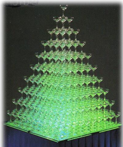 トライタンプラスチックシャンパングラス シャンパンタワー10段トレイセット