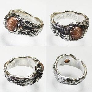 レッドルチルクォーツキャッツアイ925リングメンズ溶解シルバー工法埋め込みシルバーリング指輪1点もの黒銀いぶし銀アンティーク加工ハード系手作り24号