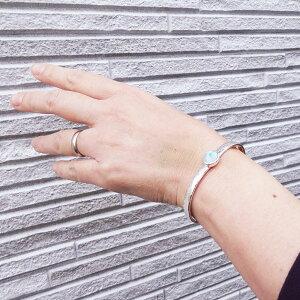 ラリマーシルバーバングル【受注製作】シンプルブレスレット手作り長さ約14cm