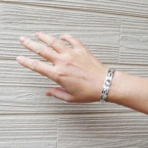 ムーンストーンバングル925グリーンムーンストーン天然石ブレス打ち出しスタンプワークレディースブレスハンドメイド銀細工師手作り【長さ約14cm】