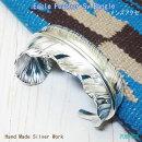 フェザーバングルシルバーバングルブレスレットイーグルの羽根メンズアクセプレミアム銀板からダイレクト銀職人ハンドメイド