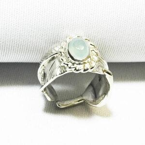 カリビアンカルセドニーピンキーフェザーリングシルバーリング指輪手作り鷲の羽9.5号