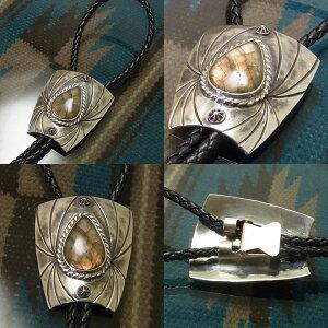 ループタイ個性的シルバーBOLOTIEラブラドライト太陽光スパイダー一点ものメンズアクセいぶし銀ブラツクアンティーク