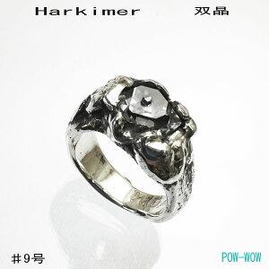 ハーキマーリングピンキー双晶埋め込み指輪黒銀いぶし銀9号