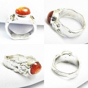 サンストーンシルバーリング溶解シルバーアーム個性的指輪銀地金よりダイレクト手作りシルバーアクセ16号