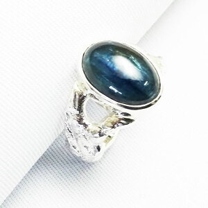 ブルーカヤナイト溶銀シルバーリングカイヤナイトmelting二股アーム指輪銀地金よりダイレクト手作りメタルワーク一点もの15号
