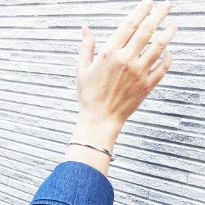 トラディショナル叩きバングルシルバーブレスレットシンプル銀細工工房銀細工師手仕事atpbn0043長さ約14cm