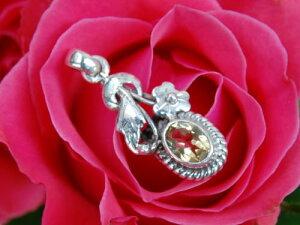 シトリン ペンダント 花模様がキュート ネパールの銀職人の手作りシルバーアクセ gift ok postok fw