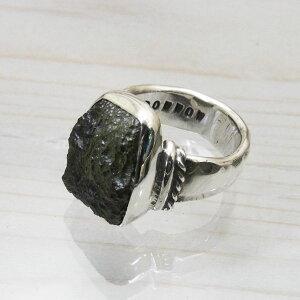 モルダバイト指輪925シルバーリングハンドメイドメンズ24号
