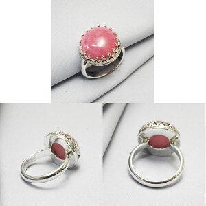 インカローズシンプルシルバーリングロードクロサイトハンドメイド手作り指輪天然石銀細工師11号